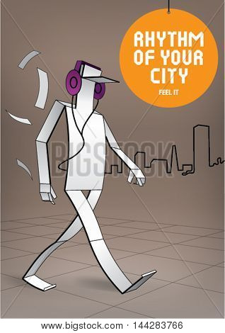 Cutted out of a paper man is walking with headphones on the city background. Illustration in style folded paper. Illustration in origami style