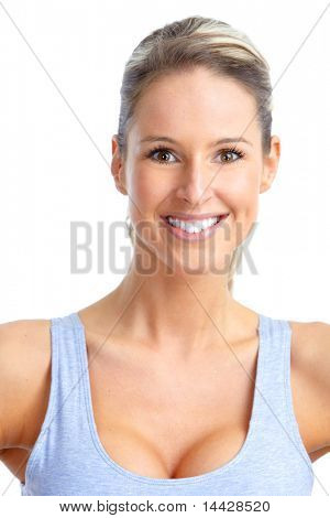 Fitness and gym. Smiling young  woman. Isolated over white background