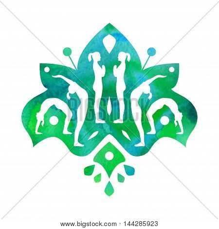 Vector Yoga Illustration With People Silhouettes. Yoga Design Element With Ethnic Indian Motive For