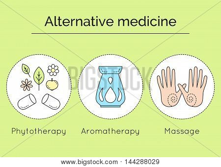 Types Of Alternative Medicine As Set Of Linear Vector Icons. Phytotherapy, Aromatherapy And Massage