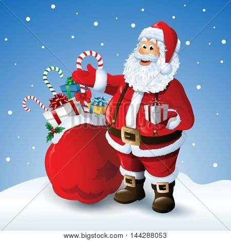 Cartoon Santa claus with a bag of toys in front  winter background