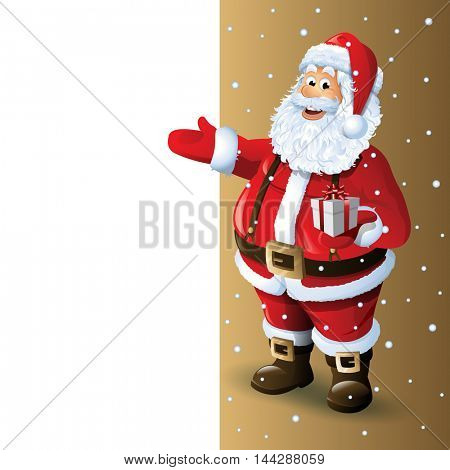 Santa Claus Cartoon Character Showing in Blank Space. Vector Illustration