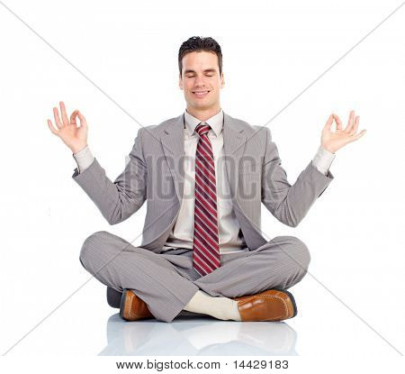 Happy  businessman relaxing. Isolated over white background