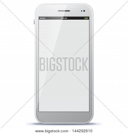 White Mobile Phone Vector Illustration isolated on white.