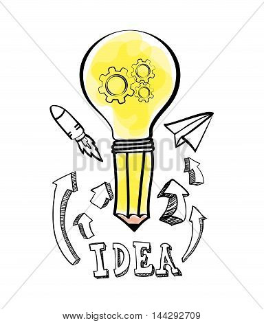 bulb pencil rocket paperplane big and great idea creativity icon set. Sketch and draw design. Vector illustration