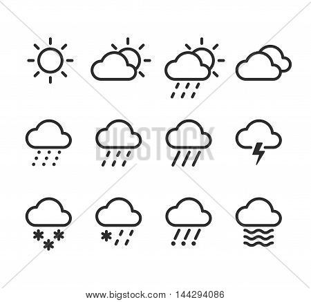 Weather icons set. 12 isolated line icons with clouds skies and precipitations.