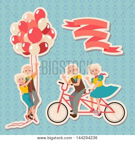 Set Happy Grandparents Day. Grandmother and grandfather riding on a tandem bicycle flight on balloons. Enjoying life. Anniversary.