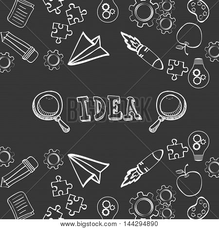 paperplane rocket gears puzzle bulb pencil big and great idea creativity icon set. Sketch and draw design. Vector illustration