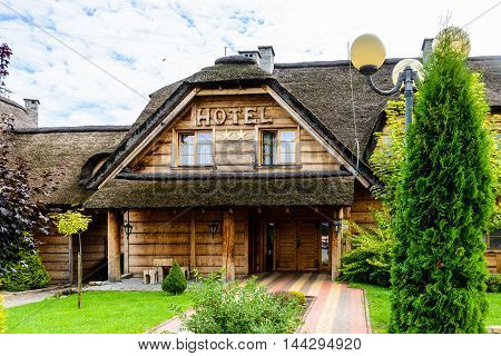 HORBOW, POLAND - AUGUST 17, 2014: Pajero Hotel in Horbow, Poland. Pajero hotel is located on the International road E-30, 20 km from the Belorussian Frontier