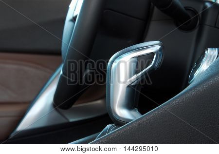 manual gear shift , detail in the interior of the car