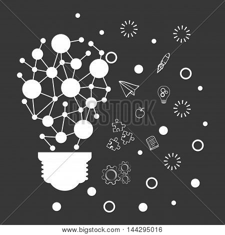 bulb pointed paperplane puzzle gears big and great idea creativity icon set. Sketch and draw design. Vector illustration