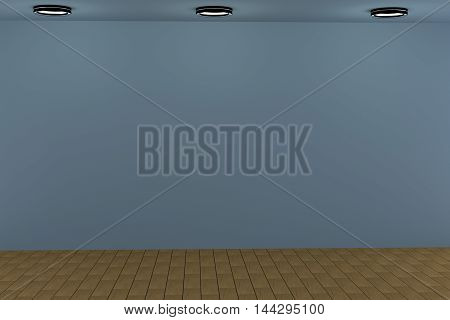 3d rendering of blue empty room with light bulbs