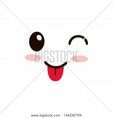 flat design kawaii happy tongue out facial expression icon vector illustration