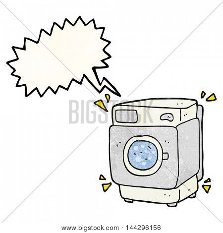 freehand speech bubble textured cartoon rumbling washing machine
