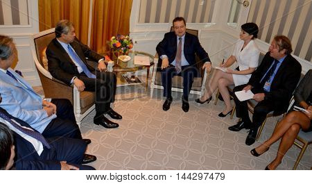NEW YORK UNITED STATES - AUGUST 24TH 2016. Meeting of the minister of Foreign Affairs of Serbia Ivica Dacic and Ahmad Zahid Hamidi, Deputy Prime Minister of Malaysia