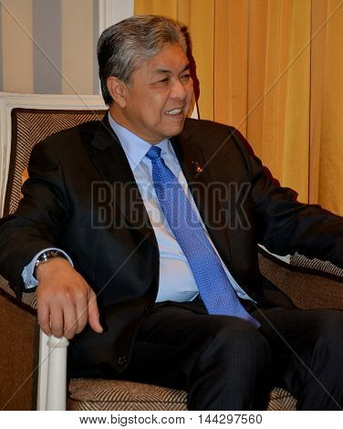 NEW YORK UNITED STATES - AUGUST 24TH 2016. Ahmad Zahid Hamidi a Malaysian politician who has been Deputy Prime Minister of Malaysia since 2015 in the Barisan Nasional coalition government of Prime Minister Najib Razak.