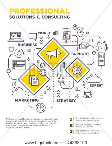 Vector Creative Concept Illustration Of Graph Business Project With Header, Text On White Background