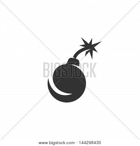 Vector Bomb icon isolated on a white background. Bomb logo in flat style. Simple icon as element for design. Vector symbol, sign, pictogram, illustration