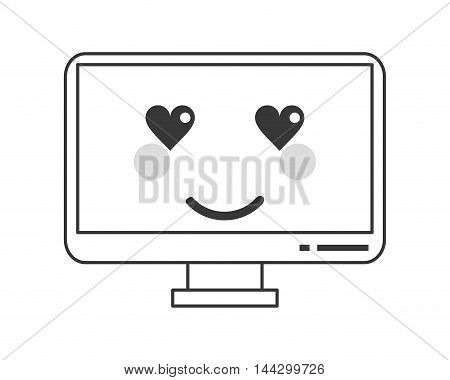 flat design kawaii computer icon vector illustration poster