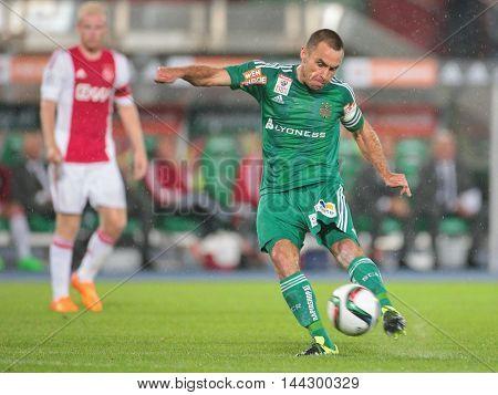 VIENNA, AUSTRIA - JULY 29, 2015: Steffen Hofmann (SK Rapid) kicks the ball in an UEFA Champions League qualification game.