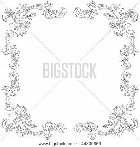 Vintage  frame, baroque frame, invitation frame, decoration frame, menu frame,  victorian frame, ornamental frame, refined frame, scroll frame, vignette frame. Vector.