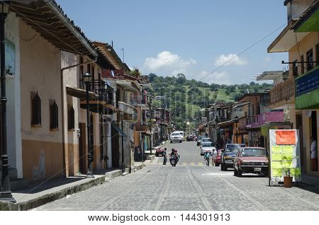 XICO, VERACRUZ, MEXICO- AUGUST 22, 2016: Cobblestone street and houses of Xico, Veracruz, Mexico. Magical town