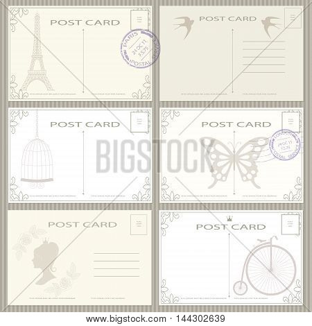 Elegant vintage post card and postage stamps vector set.