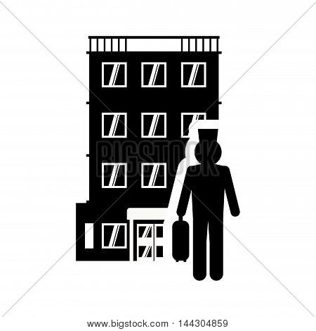 bellboy hotel building windows service silhouette icon. Flat and Isolated design. Vector illustration