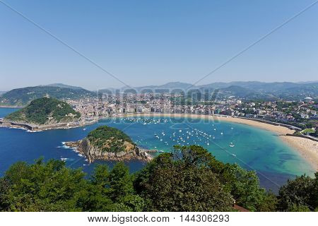 La Concha Beach from Igeldo Mount. Donostia-San Sebastian. Basque Country. Gipuzkoa. SPAIN.