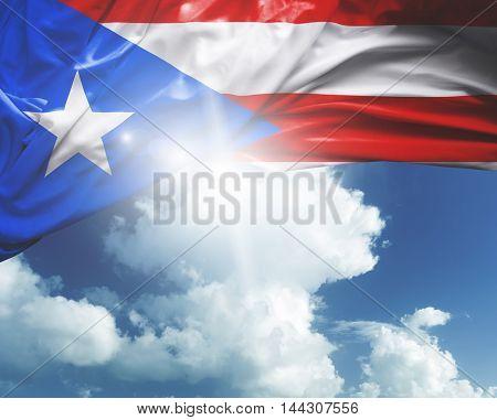 Puerto Rico flag on white background