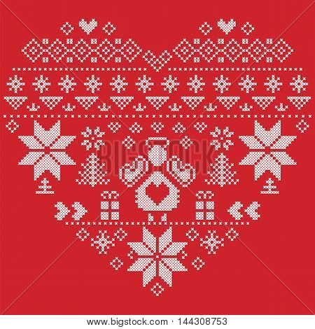Heart Shape Scandinavian Printed Textile  style and inspired by  Norwegian Christmas and festive winter seamless pattern in cross stitch with Christmas tree, snowflakes, Angel, hearts on red background
