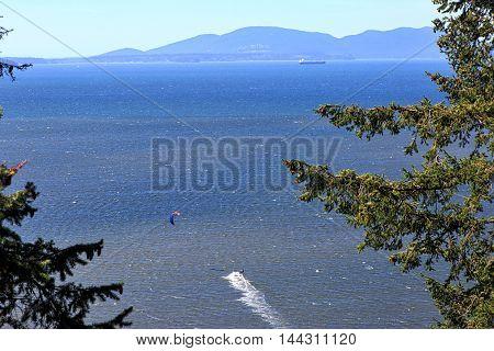 Kite sailing off the Washington State coast near Bellingham