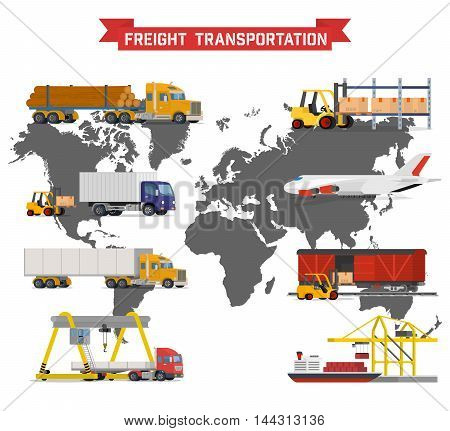 Vector volumetric set on worldwide shipping, heavy transport, delivery ways and logistics in business and industry with warehouse, trucks, airplane, railway and seaway cargo ship with world map