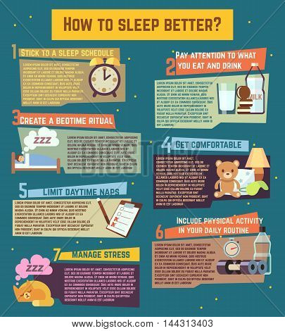 How to sleep better. Vector infographics about healthy relaxation night dream illustration