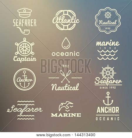 Vintage marine, nautical, navy labels, sea logos vector set on blurred background. Vintage anchor emblem design