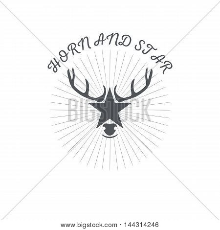 Horn and a star or a deer s head, poster or badge with grunge effects and scuffed, for decoration or print on t-shirt, vector illustration