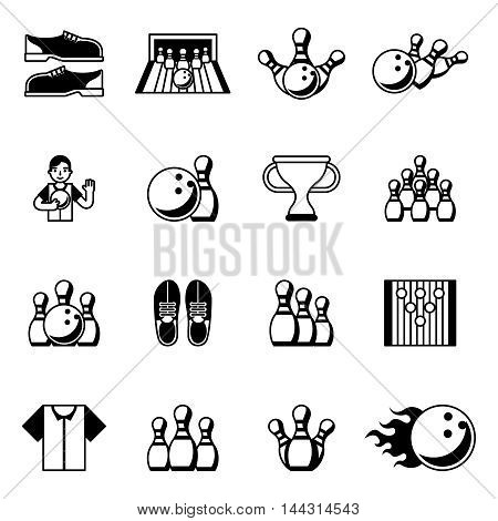 Bowling black icons. Signs and symbols for sport hobby vecto illustration