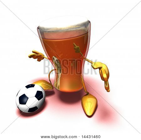 Beer playing football