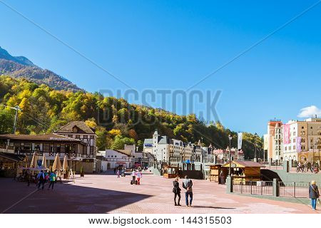 SOCHI RUSSIA - OCTOBER 31 2015: Rosa Khutor administrative buildings and infrastructure of the Alpine ski resort. Constructed from 2003 to 2011. Krasnaya Polyana Sochi Krasnodarskiy kray Russia