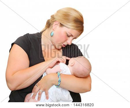 Obese mother with her newborn baby on white background. Lifestyle picture. Parenthood and child care concept.