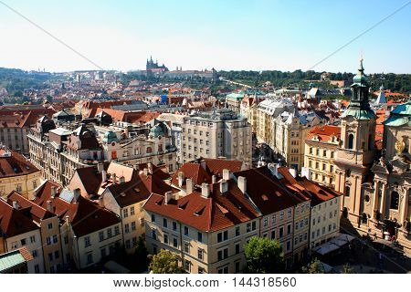 Cityscape of Prague in Czech Rep .