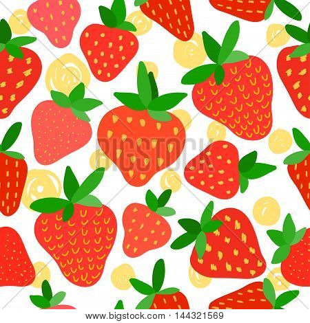 Bright Red Strawberry Seamless Pattern Background. Summer Time Theme.