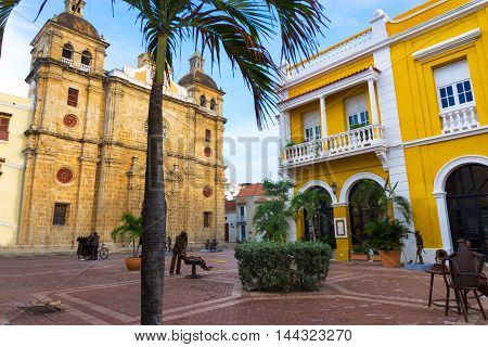 Historic plaza in front of the San Pedro Claver church in Cartagena Colombia