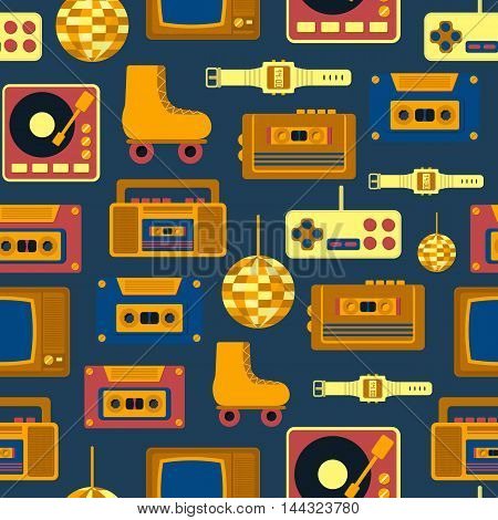 Vector illustration with cartoon retro 1980 60s 70s 80s 90s background. Old retro entertainment objects: rollers tv recorder cassette. Vector icons for retro 1980 60s design. Cartoon objects