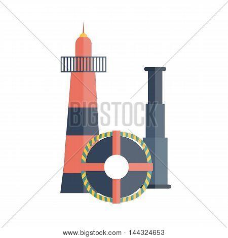Vector illustration with flat cartoon lighthouse lifebuoy spyglass. Cartoon background for cruise company design or travel vacation logo. Nautical yachting illustration. Flat cruise design
