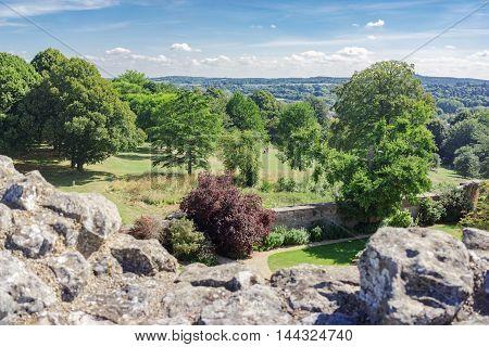 Views from Farnham Castle in Surrey over Farnham town