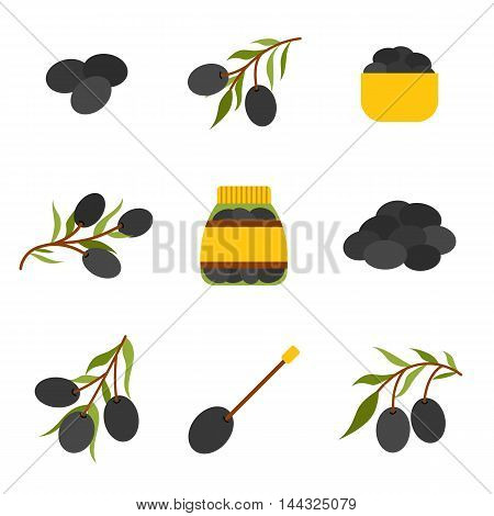 Vector cartoon flat olives objects: olive tree branch jar olives. Mediterranean italian greek cuisine concept. Vector olives flat icons. Organic fresh oil concept. Black olives on tree branch