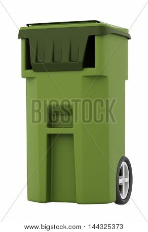 Green Garbage, Trash Bin Isolated