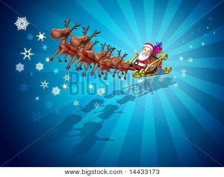 Santa Claus auf einem Schlitten