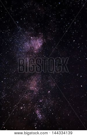 Milky Way Galaxy, Long Exposure Photography, Beautiful Night Sky. Night Sky With Lot Of Shiny Stars.